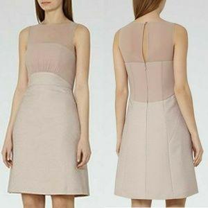 REISS Darby Ice Rose Jacquard A Line Dress Sz 0